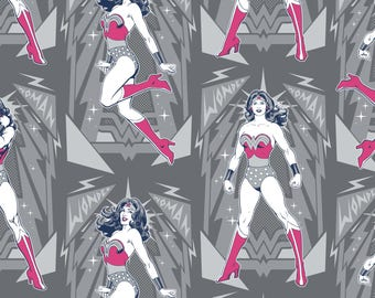 Wonder Woman Poses in Iron Gray Blue Licensed DC Camelot Fabric By The Yard