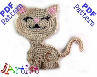 Cat Pattern Crochet Applique Pattern