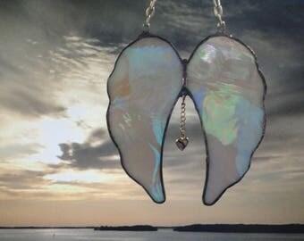 Angel Wings, Stained Glass, Golden Iridescent, Spiritual, Religious, Sun Catcher, Home Decor, Window Hanging, Faith, Sculpture, Ornament
