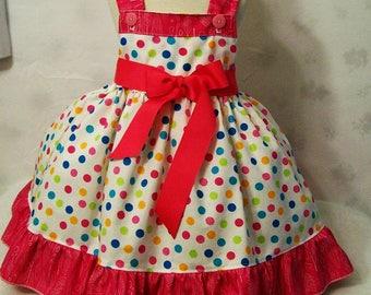 Girls Jumper Dress, Dots with Hot Pink, Girls Dresses, Girls Dress, Girls Clothing, Girls Party Dress, handmade Dress, Made in the USA, #4