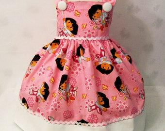 Girls Jumper Dress, Dora on Pink Girls Dresses, Girls Dresses, Girls Clothing, Girls Party Dress, handmade Dress,  Made in the USA, #3