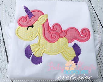 Unicorn Girl Applique Design 4x4, 5x7, 6x10, 8x8