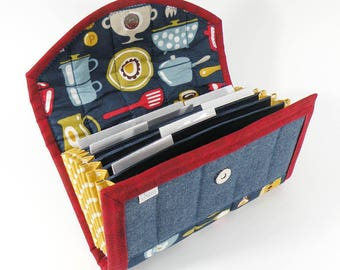 COUPON / EXPENSE / RECEIPT Organizer - Retro Kitchen - Coupon Organizer Coupon Holder Cash Budget Denim