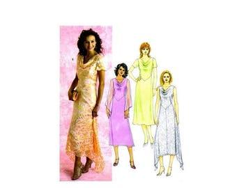 SALE Misses Cowl Neck Handkerchief Hemline Dress McCalls 4374 Sewing Pattern Uncut