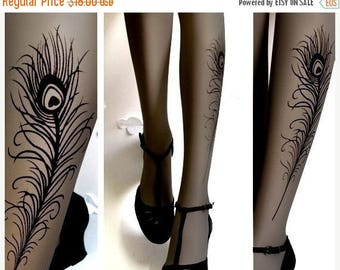 ON SALE/// sexy Peacock FEATHER Tattoo gorgeous thigh-high socks Grey
