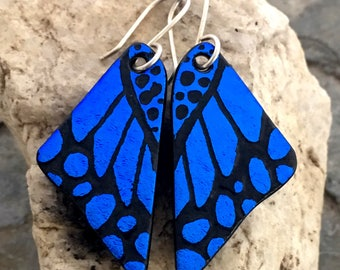 DICHROIC GLASS EARRINGS Dark Blue Butterfly Wings Hand Etched Fused Glass with Sterling Silver Hooks