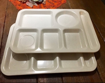2 vintage SiLite 113 Cafateria Serving Trays divided picnic Lot of 2