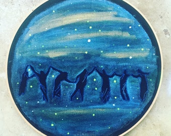 Sabbath  - hand drawn, painted and embroidered hoop art wall hanging #witchaday 24/31