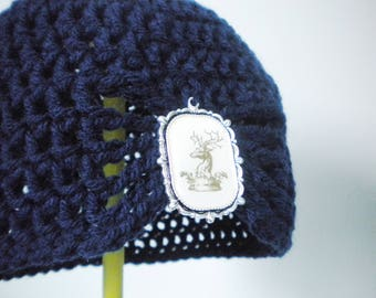 Half Price & Ready to Ship! Dark blue flapper hat with brooch of your choice! Sized for a child/preteen