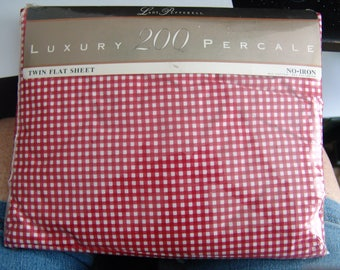 Vintage Lady Pepperell Checkered Twin Flat Sheet Red White Gingham NIP