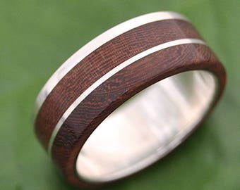 Size 12, 8mm  White Gold READY TO SHIP Un Lado Asi Wood Ring - ecofriendly wood wedding band, mens wood wedding ring, unique wooden ring