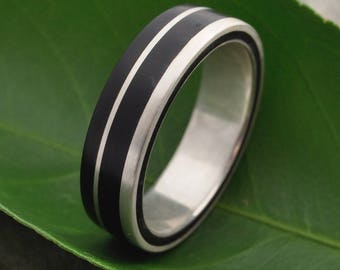 Un Lado Asi Coyol Wood Ring -  ecofriendly coyol recycled sterling silver, mens wood wedding ring, women's wood wedding band, wooden ring