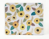mousepad / Mouse Pad / Mat - Gouache Painted Yellow Flowers