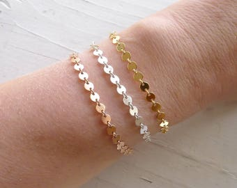 Sequin Bracelet Sterling Rose Gold or Yellow Goldfilled Dainty Everyday Jewelry