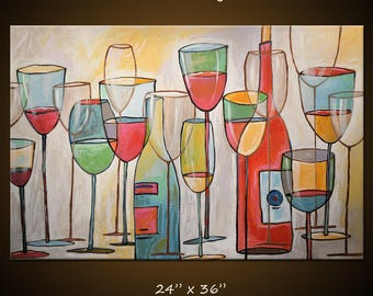 """Art Painting Abstract Modern Dining Room Bar Decor Wine Glasses Bottles ... """"Wine Tasting"""" 24"""" x 36"""" by Amy Giacomelli"""
