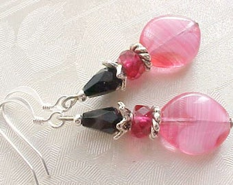 Fuchsia Earrings Dark Pink Earrings Hot Pink Earrings Black Pink Earrings Czech Glass Earrings Handmade Earrings Dangle Earrings Mothers Day