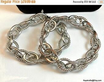 Eclipse Sale Silver Tone Stretch Double Chain Link Bracelet Vintage Bracelet Metal Chain Bracelet Unisex Bracelet Silver Link Bracelet