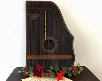 Antique 1894 Menzenhauer's Guitar Zither, For Display Only, Christmas Decorating, Winter Holiday or Wedding Decor