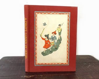 Vintage Children's Book, Robert Louis Stevenson, A Child's Garden of Verses, Special Content Copyright 1944 Macy's, Red Cloth Illustrated