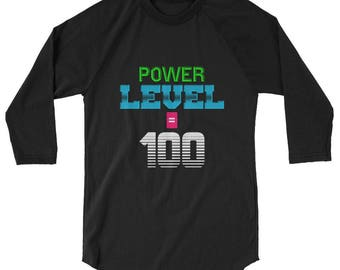 Gamer T Shirt Power Lever 100 Unisex Raglan