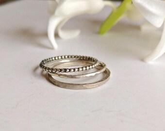 Set of mini silver stacking rings - dainty minimalist midi rings, tiny bands