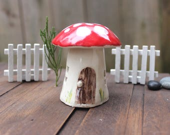 Ceramic mushroom house for your fairy garden, terrarium or potted plant or where ever you want to put a little magic