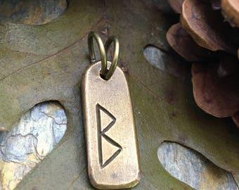 Berkano Rune, Nordic Runes, Bronze Rune Pendant, Viking Runes, Rune Charms, Rune Jewelry, Nordic Jewelry, Elder Futhark, Viking Jewelry