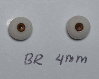 Hand Made Glass Like Eyes 4mm - Brown - for OOAK Art Dolls BR-4mm