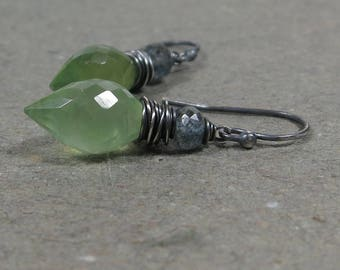 Prehnite Earrings Blue Moss Aquamarine Light Green Marquis Gemstone Oxidized Sterling Silver Earrings Wire Wrapped