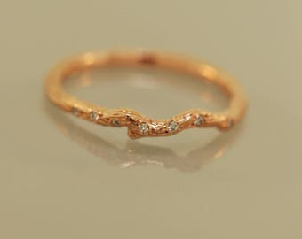 Lil Bud with diamonds, engagement rings, engagement bands, gold twig band, diamond pave twig,