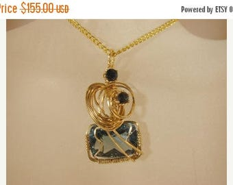 Moving Sale 40% Off Blue Topaz with Blue Sapphires Pendant set in 14K Rolled Gold