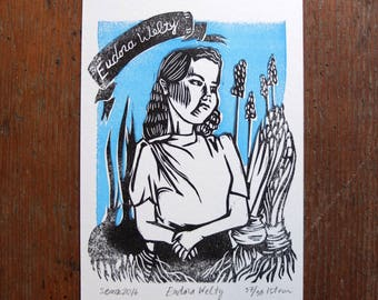 Eudora Welty linocut letterpress print