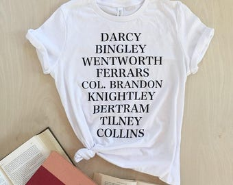 Jane's Men T-shirt - Jane Austen characters - bookish shirt - women's size S, M, L, XL, 2X