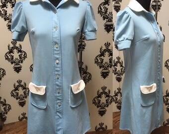 Baby Blue 1970s Vintage Diner Uniform Mini Dress sz S