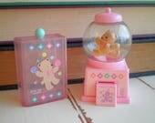 Vintage Kawaii Sanrio Tweedle Dee Dee Bear Tiny Gumball Candy Machine & Mini Drawer Jewelry Box Collectible Gift - Brown Teddy Bear Kawaii