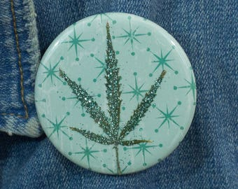 Light Aqua Glitter Pressed Cannabis Leaf Button