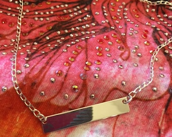 Sterling Silver Bar Necklace, Hand Forged, Customization available, Hand Stamped