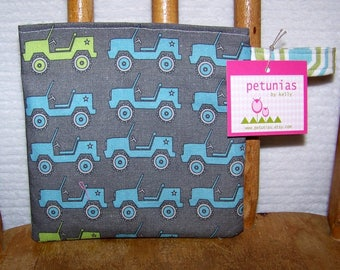 Reusable Little Snack Bag - pouch kids adults eco friendly jeeps exclusive fabric by PETUNIAS