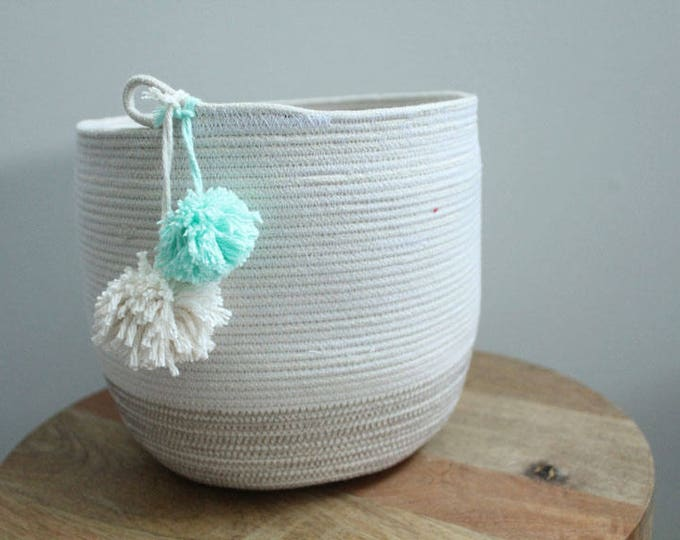 Basket rope coil bin storage organizer bowl pompoms natural grey mint by PETUNIAS
