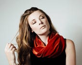 Dark Orange Velvet Infinty Cowl