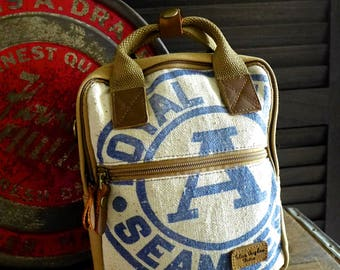 Royal A Seamless - Mini Backpack/ Shoulder Bag/ Mini Tote - Vintage seed sack Canvas & Leather Bag Selina Vaughan Studios