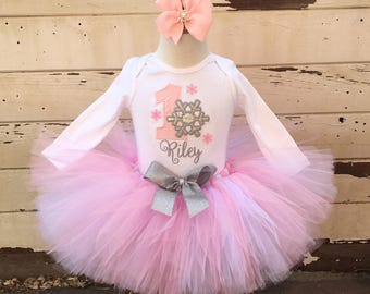 Pink and Silver Snowflake Tutu Outfit, 1st Birthday Girl, Winter Onederland, Personalized Bodysuit, Sewn Tutu and Headband, Mini Crown