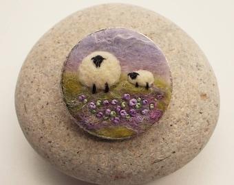 Needle Felt Merino Wool Sheep Brooch