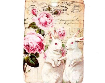 Rabbit Gift Tags, Rabbits and Roses, Pink Tags, Vintage Style Tags, French Rabbits, Hares, White Rabbits, Bluebird Lane Tags, Shabby Tags