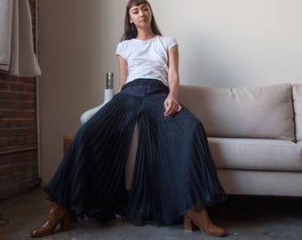 70s sheer black pleated trousers / wide leg palazzo pants / m / 2796t