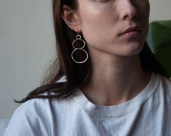 gold double drop hoops / large hoop earrings / organic hoop earrings / 1804a