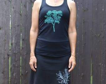 Elm Tree Tank Top Scarlet Black XS,S,M,L,XL