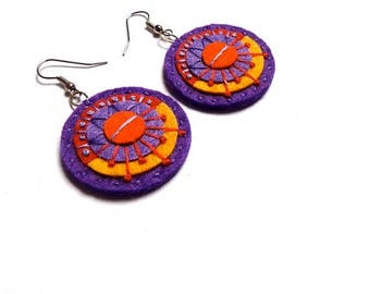 HALF PRICE Summer Sale AZTEC Textile Earrings - Felt with hand embroidery