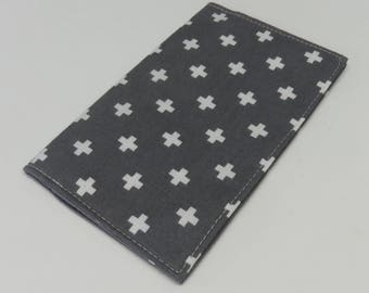 Checkbook Cover Case Cheque Coupons Money Holder - White Crosses on Gray Fabric