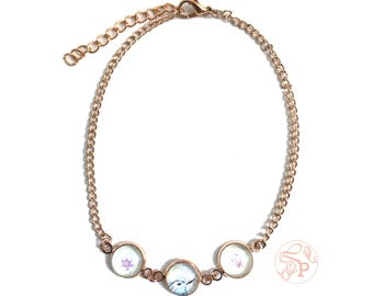 blue bird rose gold anklet / watercolour art glass jewellery / purple butterfly anklet / shabby chic rose gold jewellery